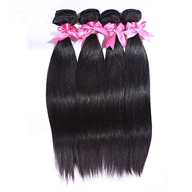 Cabelo Indiano Liso Cabelo Virgem Cabelo Humano Ondulado 4 pacotes Tramas de cabelo humano Cor Natural / Reto
