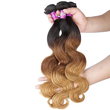 Fekete / Strawberry Blonde Hullámos haj Brazil haj Emberi haj sző Póthajak 0.3kg