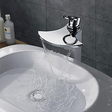 現代風 洗面ボウル 滝状吐水タイプ with  真鍮バルブ シングルハンドルつの穴 for  クロム , 浴槽用水栓 / バスルームのシンクの蛇口 / 水栓