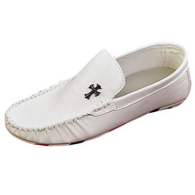 Herrn Schuhe PU Sommer Herbst Mokassin Komfort Loafers & Slip-Ons Walking für Normal Weiß Schwarz Orange
