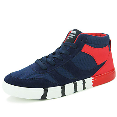 Herren-Flache Schuhe-Lässig-Tüll-Flacher AbsatzSchwarz Blau Rot