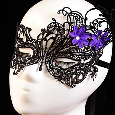 máscara preta do laço / branco para a festa com decoração flor roxa