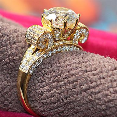 Anéis Mulheres Strass Prata / Pedaço de Platina Prata / Pedaço de Platina 4.0 / 5 / 6 / 7 / 8 / 8½ / 9 / 9½ Dourado
