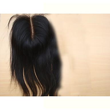 baratos Fechamento & Frontal-PANSY weave do cabelo Extensões de cabelo humano Liso Clássico Cabelo Humano Pedaço de cabelo Cabelo Brasileiro Nós descorados Mulheres Preto Natural