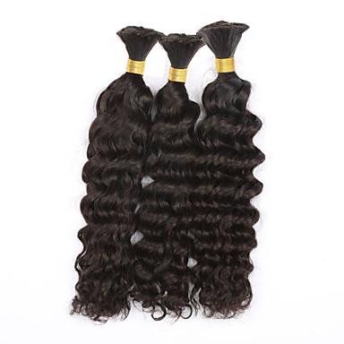 טווה שיער אדם שיער ברזיאלי גל עמוק שישה חודשים 3 חלקים שוזרת שיער