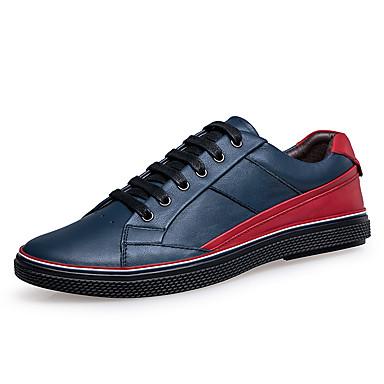 Masculino sapatos Couro Primavera Outono Conforto Oxfords Caminhada Cadarço Para Casual Preto Azul