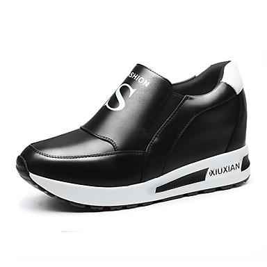 Feminino Sapatos Courino Outono Conforto Mocassins e Slip-Ons Rasteiro Presilha Para Casual Branco Preto