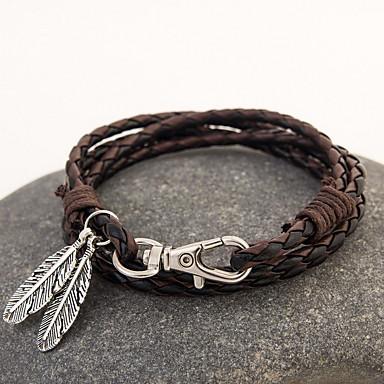 abordables Bracelet-Bracelets en cuir Multirang Corde Empilable Cuir Plume Bohème Mode Multicouches Indien Bracelet Bijoux Marron Rouge Noir / Blanc pour Regalos de Navidad Quotidien Décontracté