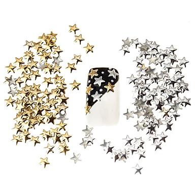 100pçs melhor de preços fixados de prata de 5mm e estrela dourada metal manicure unhas decorações arte 3D