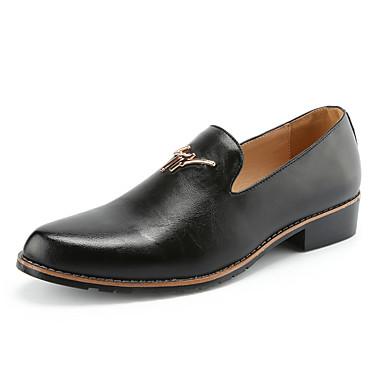 Hombre Mocasines de Vestir Cuero Verano / Otoño Confort Zapatos de taco bajo y Slip-On Paseo Negro / Amarillo / Borgoña / Boda / Fiesta y Noche