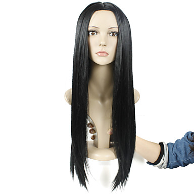 jet sem tampa comprimento longo preto de alta qualidade cabelo liso natural, peruca sintética