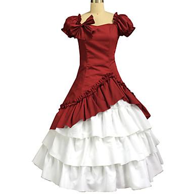 Une Pièce/Robes Lolita Classique/Traditionnelle Lolita Cosplay Vêtrements Lolita Couleur Pleine Manches Courtes Long Jupe Robe Noeud Pour