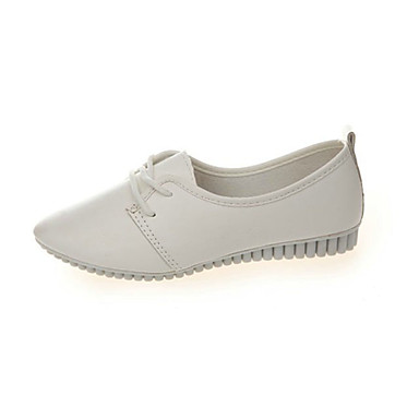 Damen-Flache Schuhe-Lässig-PU-Flacher Absatz-Komfort-Schwarz Weiß