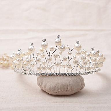 tiaras de la aleación del rhinestone de la perla del estilo clásico femenino de la tapa