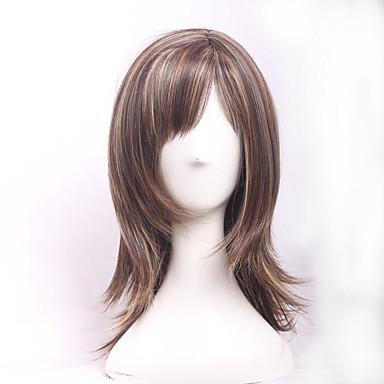 Syntetiske parykker Bølget Massefylde Dame Brun Carnival Paryk Halloween Paryk Naturlig paryk Kort Medium Syntetisk hår
