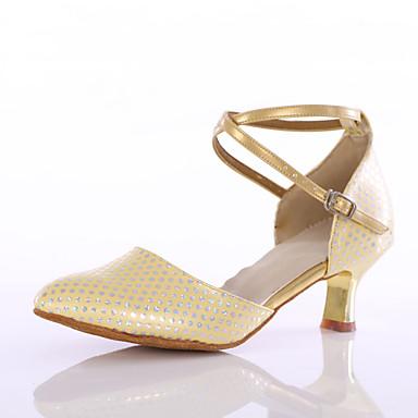 Damen Schuhe für modern Dance Kunstleder Absätze Innen Maßgefertigter Absatz Gold Maßfertigung
