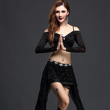 Danse du ventre Tenue Femme Spectacle Tulle Paillette Manche longue Taille moyenne Haut Jupe Short