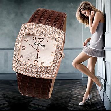 Mujer Reloj de Pulsera Reloj Casual / La imitación de diamante Piel Banda Encanto / Moda / Reloj de diamantes simulado Negro / Blanco / Plata