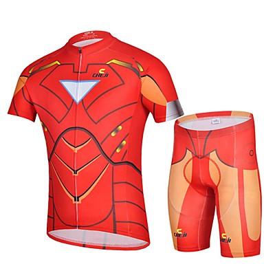 Camisa com Shorts para Ciclismo Homens Manga Curta Moto Blusas Calças Conjuntos de Roupas Respirável Redutor de Suor Elastano Primavera