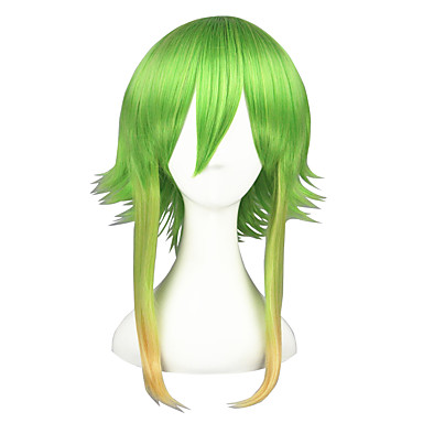 Perucas de Cosplay Vocaloid Gumi Verde Médio Anime Perucas de Cosplay 45 CM Fibra Resistente ao Calor Masculino / Feminino