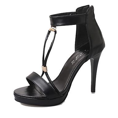 Damen-High Heels-Kleid / Lässig-PU-Flacher Absatz-Absätze-Schwarz / Weiß