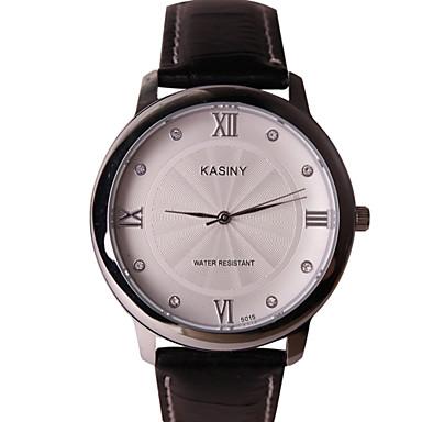 Homens Relógio de Moda Quartzo Relógio Casual Couro Banda Preta Marrom