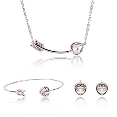 Damen Schmuck-Set Ohrringe Halsketten Armband - Geschenkboxen & Taschen bezaubernd Einstellbar Silber Schmuckset Halskette / Ohrringe