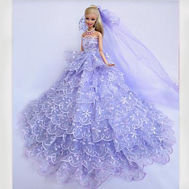 Bryllup Kjoler Til Barbiedukke Blonde Satin Kjole Til Jentas Dukke