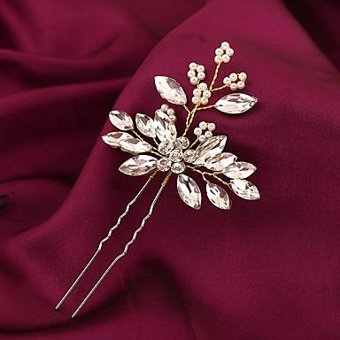 Edelstein & Kristall Tüll Strass Blumen Kopfbedeckung Haar-Stock with Kristall Feder 1 Hochzeit Besondere Anlässe Geburtstag Kopfschmuck