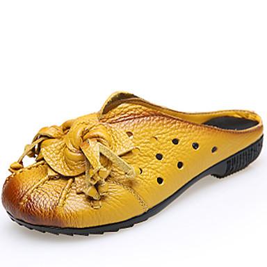 Mulheres Sapatos Pele Napa Primavera Verão Chinelos e flip-flops Sem Salto para Casual Preto Amarelo Vermelho