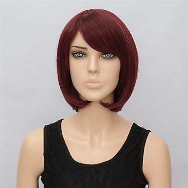 Mulher Perucas sintéticas Curto Liso Fuxia preto peruca Perucas para Fantasia