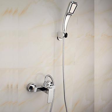 ברז למקלחת - עכשווי כרום סט מרכזי שסתום קרמי / Brass / שני חורי ידית אחת