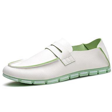 Herre-PU-Flat hælFlate sko-Friluft-Svart Blå Hvit Beige