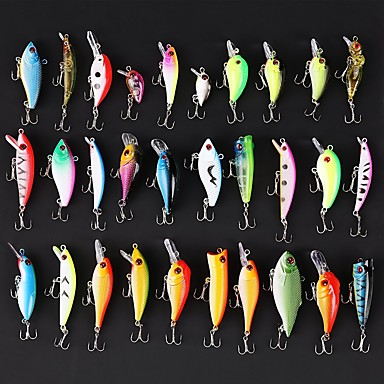 cheap Fishing Lures & Flies-30 pcs Swimbaits Fishing Lures Hard Bait Jerkbaits Minnow Crank Pencil Popper Vibration / VIB Hard Plastic Floating Sinking Sea Fishing Bait Casting Spinning / Freshwater Fishing / Bass Fishing
