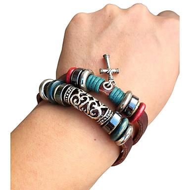Bracelet Bracelets en cuir Alliage / Cuir Quotidien / Décontracté Bijoux Cadeau Noir,1pc