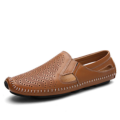 Herrn Schuhe Leder Frühling Herbst Komfort Loafers & Slip-Ons Walking für Normal Weiß Schwarz Braun