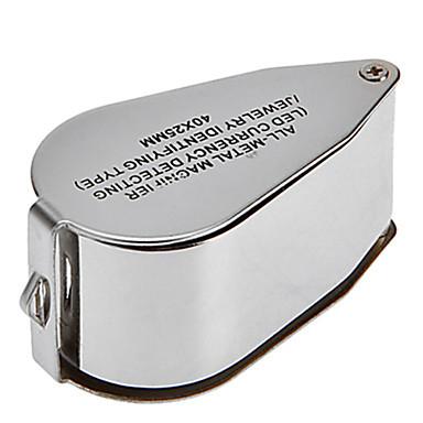 זכוכית מגדלת / מיקרוסקופ תכשיטים / תיקון שעון חדות גבוהה HD / נשיאה ידנית / LED / קיפול 40 30mm נורמלי גומי / מתכת