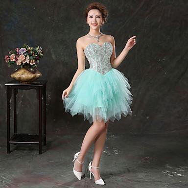 De Baile Decote Princesa Até os Joelhos Tule Coquetel Vestido com Miçangas Lantejoulas de SG