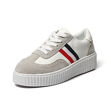 Damen-Flache Schuhe-Lässig-Leder-Flacher Absatz-Komfort-