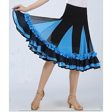 Dança de Salão Fundos Mulheres Espetáculo Elastano Apliques / Pregueado Sem Manga Caído Saia