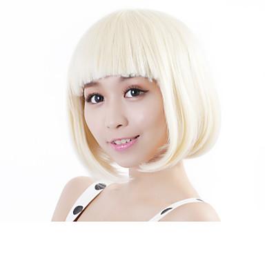 Syntetiske parykker Rett Bobfrisyre Syntetisk hår Blond Parykk Dame Halloween parykk / Karneval Parykk Lokkløs
