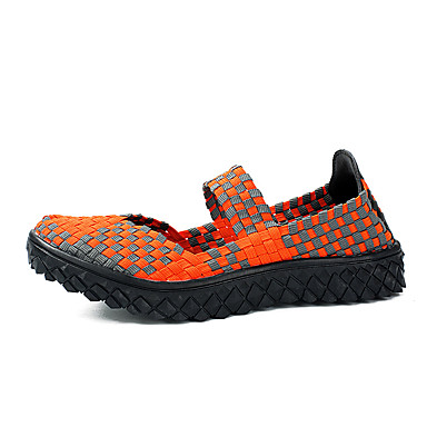 Feminino Sapatos Couro Ecológico Primavera Verão Outono Inovador Sem Salto Para Laranja Roxo Fúcsia Verde Arco-Íris