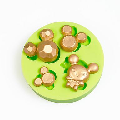cabeça do mouse de desenhos animados decoração cupcake silicone fundido cor do molde aleatório