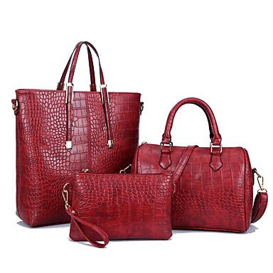 Mulheres Bolsas Couro Ecológico Conjuntos de saco 3 Pcs Purse Set Ziper para Casual Todas as Estações Preto Prata Vermelho Azul Profundo