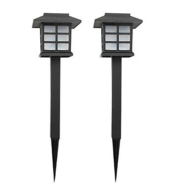pakke med 2 solenergi plenen lampe hage stake lysbanen gangvei