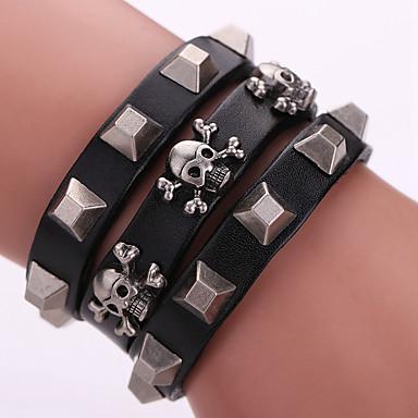 Bracelet Bracelets Wrap / Bracelets en cuir Alliage / Cuir Forme Géométrique / Forme de Tête de Mort Mode / Bohemia style / Adorable