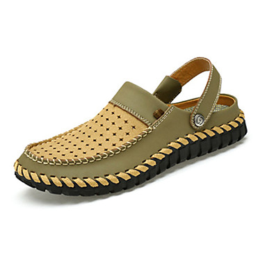 Herrn Schuhe Leder Sommer Komfort Slippers & Flip-Flops Sandalen für Normal Braun Braungrau Khaki