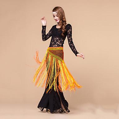ריקוד בטן תלבושות בגדי ריקוד נשים ביצועים כותנת קריסטל תחרה תחרה 3 חלקים שרוול ארוך טבעי עליון מכנסיים צעיף