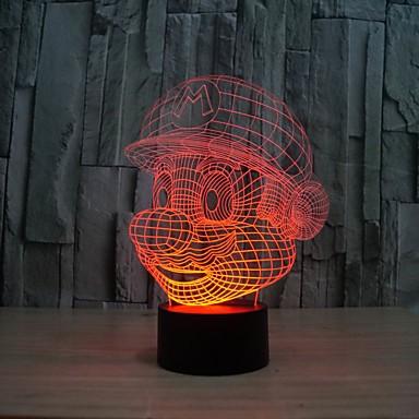 3d forme illusion conduit nuit dessin animé lumière commutateur atmosphère 5W LED ampoules agneau avec 7 lumière de