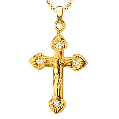 Homens Mulheres Pingentes Cruz forma cruzada Coração Aço Inoxidável Chapeado Dourado Metal Liga Luxo Amor Fashion Jóias Para Roupa Diária